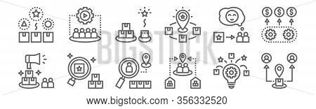 Set Of 12 Brand Positioning Icons. Outline Thin Line Icons Such As Market, Competitor, Distinction,