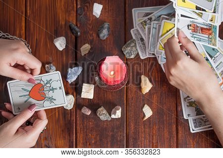 Bangkok,thailand,march.15.20.the Gypsy Lays Out Tarot Cards And Guesses For The Future. Christmas Fo