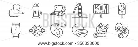Set Of 12 Summer Food And Drink Icons. Outline Thin Line Icons Such As Stuffed Avocado, Coconut, Col