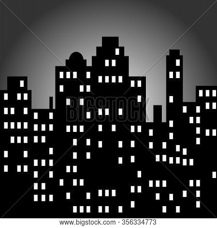 A Simple Black And White Cityscape At Night With Windows.