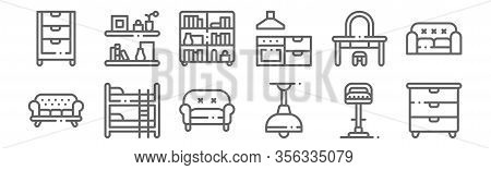 Set Of 12 Furnitures Icons. Outline Thin Line Icons Such As Chest Of Drawers, Ceiling Light, Bunk Be