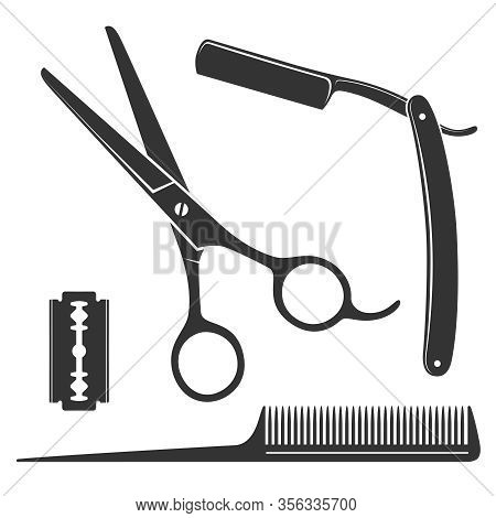 Barber Icon Set. Scissors, Straight Razor, Comb, Blade  Graphic Signs Isolated On White Background.