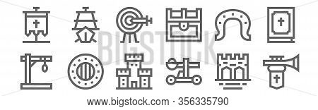 Set Of 12 Medieval Items Icons. Outline Thin Line Icons Such As Trumpet, Catapult, Shield, Horseshoe