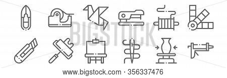 Set Of 12 Diy Crafts Icons. Outline Thin Line Icons Such As Caulk Gun, Needle, Paint Roller, Thread,