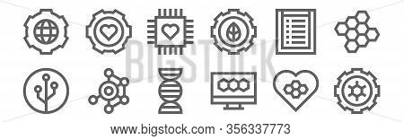 Set Of 12 Bioengineering Icons. Outline Thin Line Icons Such As Engineering, Bond, Structure, Resear