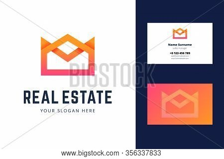 Logo And Business Card Template For Real Estate, House Rental Services. Simple Geometric House, Crow