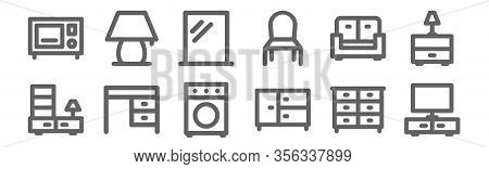 Set Of 12 Furniture Home Decor Icons. Outline Thin Line Icons Such As Tv Monitor, Drawers, Desk, Div