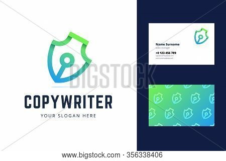 Pen Symbol Logo And Business Card. Logotype For Copyrighters, Bloggers, Writers, Journalists. Vector