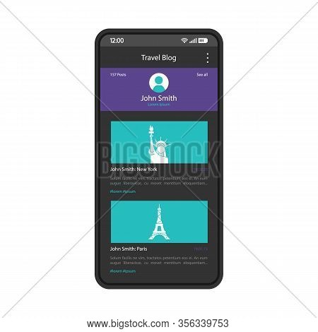 Travel Blog Smartphone Interface Vector Template. Mobile App Page Design Layout. Social Media Accoun