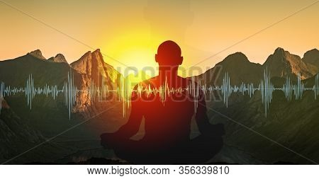 Yoga Meditation Illustration, Silhouette Of Man Practicing Meditating In Mountains At Sunset