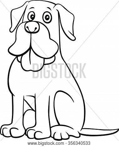 Black And White Cartoon Illustration Of Funny Dog Comic Animal Character Coloring Book Page