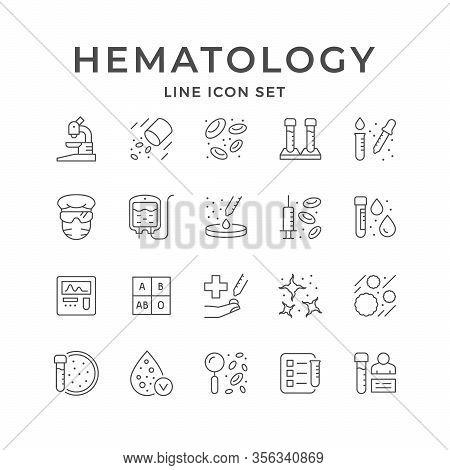 Set Line Icons Of Hematology Isolated On White. Blood Donation, Microscope, Medical Test Tube, Pipet