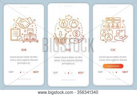Market Types Onboarding Mobile App Page Screen Vector Template. Business Models. B2b, B2c, C2c Walkt