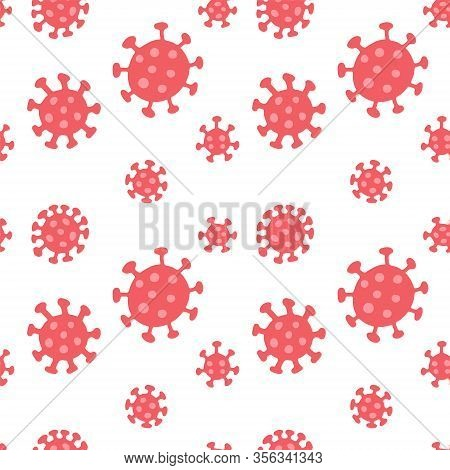 Coronavirus Seamless Pattern. Repetitive Flat Vector Illustration Of Flat Red Viruses On Transparent