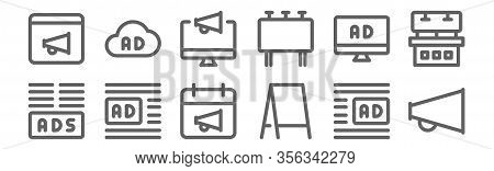 Set Of 12 Advertising Icons. Outline Thin Line Icons Such As Broadcast, Poster, Ads, Ads, Advertisin