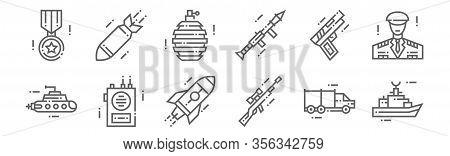 Set Of 12 Military Icons. Outline Thin Line Icons Such As Battleship, Sniper Gun, Radio Speaker, Gun