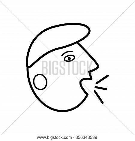Simple Outline Vector Cough Icon. Allergy Symptoms Icon. Airborne Infectious Diseases, Colds, Flu, C