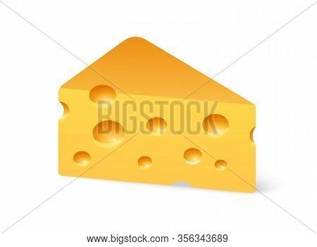 Triangular Cheese Piece Of Swiss Maasdam Isolated