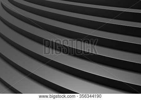 Round Black Ascending Stairs Of Upward Staircase With Shadows From Soft Light Close-up View, 3d Illu