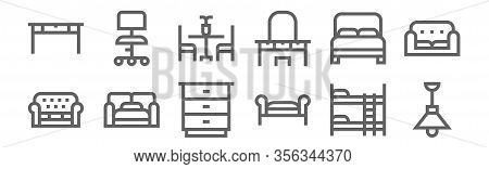 Set Of 12 Furnitures Icons. Outline Thin Line Icons Such As Ceiling Light, Divan, Sofa Bed, Double B