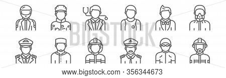 Set Of 12 Profession Avatar Icons. Outline Thin Line Icons Such As Firefighter, Captain, Moslem, Sho