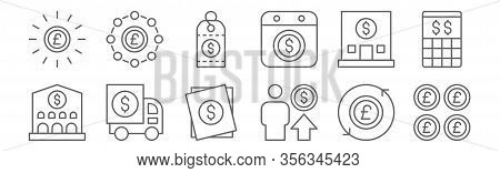 Set Of 12 Money Icons. Outline Thin Line Icons Such As Pound Sterling, Pay, Truck, Bank, Price Tag,
