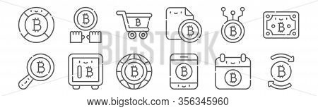 Set Of 12 Bitcoin Icons. Outline Thin Line Icons Such As Bitcoin, App, Safebox, Bitcoin, Cart,