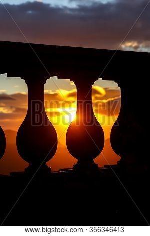 Black Silhouette Of Balustrade On Sunset Backgound