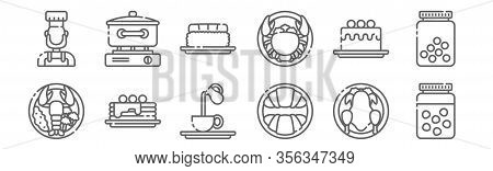 Set Of 12 Gastronomy Icons. Outline Thin Line Icons Such As Peas, Croissant, Pancakes, Cake, Nigiri,
