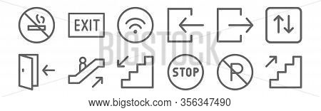 Set Of 12 Sign Icons. Outline Thin Line Icons Such As Stairs, Stop, Escalator Up, Exit, Wifi, Exit