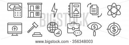 Set Of 12 Business Icons. Outline Thin Line Icons Such As Target, Briefcase, Auction, File, Flash, D