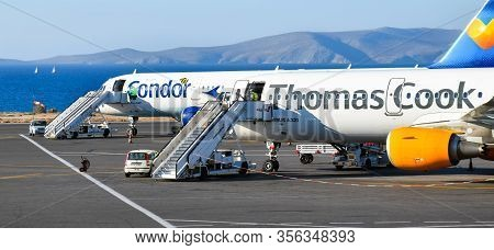 Heraklion, Greece - June 22, 2016: Two Airbus A321 Aircrafts Of The Airlines Condor And Thomas Cook