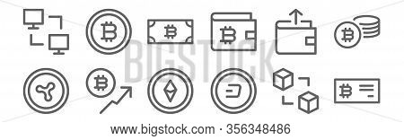 Set Of 12 Cryptocurrency Icons. Outline Thin Line Icons Such As Bitcoin, Dash, Bitcoin, Send, Bitcoi