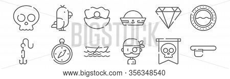 Set Of 12 Pirates Icons. Outline Thin Line Icons Such As Eyepatch, Pirate, Compass, Diamond, Clam, P