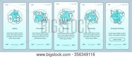 Hr Baseline Skills Onboarding Mobile App Page Screen Vector Template. Employee Soft Qualities, Abili