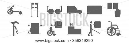 Set Of 12 Disabled People Assistance Icons. Outline Thin Line Icons Such As Wheelchair, Hospital, Di