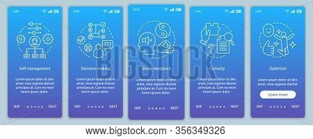 Leader And Management Skills Onboarding Mobile App Page Screen Vector Template. Hr Soft Qualities. D