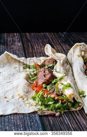 Turkish Shawarma Kebab With Cop Sis.