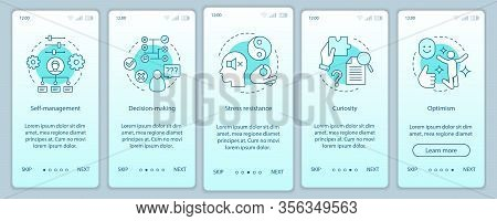 Business Skills Onboarding Mobile App Page Screen Vector Template. Employee Soft, Baseine Qualities.