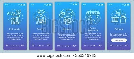Communication Skills Onboarding Mobile App Page Screen Vector Template. Public Speaking, Mentoring,