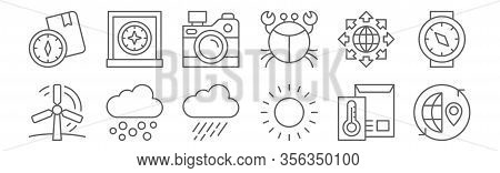 Set Of 12 Geography Icons. Outline Thin Line Icons Such As Worldwide, Sunshine, Hail, Worldwide, Pho