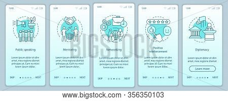 Hr Soft Skills Onboarding Mobile App Page Screen Vector Template. Public Speaking, Mentoring, Diplom