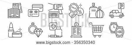 Set Of 12 Mall Icons. Outline Thin Line Icons Such As Watch, Info, Jewelry, Perfume, Bar Code Scanne