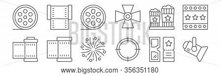 Set Of 12 Film Icons. Outline Thin Line Icons Such As Spotlight, Target, Film Roll, Popcorn, Film Ro