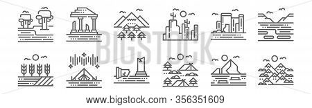 Set Of 12 Landscapes Icons. Outline Thin Line Icons Such As Mountains, Camping, Tent, Cave, Forest,