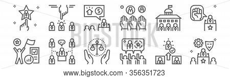 Set Of 12 Election World Icons. Outline Thin Line Icons Such As Role, Consensus, Convention, Governm