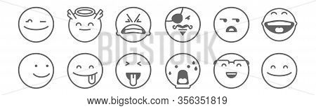 Set Of 12 Classics Icons. Outline Thin Line Icons Such As Happy, Shocked, Tongue, Wondering, Angry,