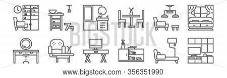 Set Of 12 Interior Furniture Icons. Outline Thin Line Icons Such As Cabinet, Bookshelf, Interior De,