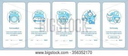 Hotel Amenities Onboarding Mobile App Screen Vector Template. Room Facilities And Services Walkthrou