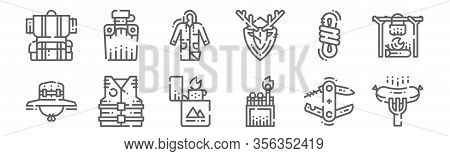 Set Of 12 Camping Icons. Outline Thin Line Icons Such As Sausage, Match Box, Lifejacket, Rope, Rainc